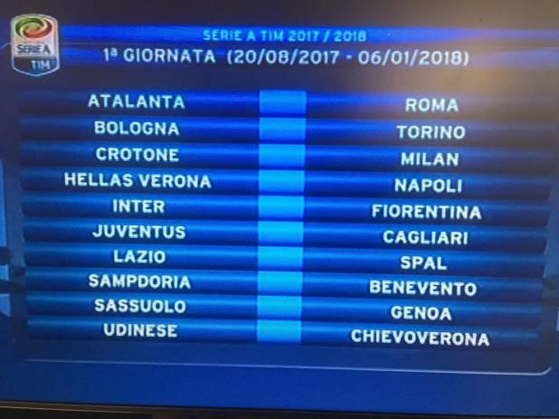 Serie A: prima giornata di campionato